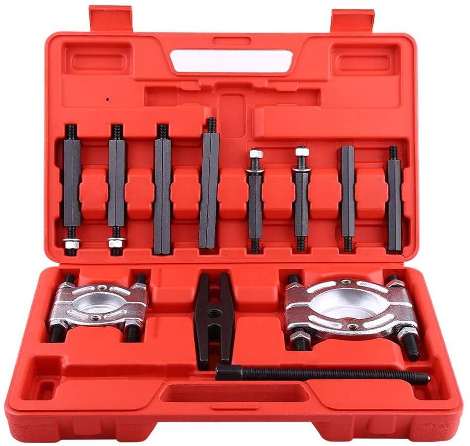 Qiilu Bearing Puller, 12 Pcs Bearing Splitter Gear Puller Fly Wheel Separator Set With Blow Mold Tool Kit