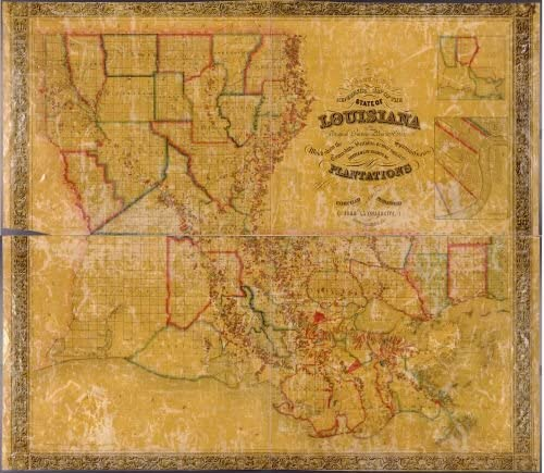 1848 Map La Tourrette's reference map of the state of Louisiana : from the original surveys of the United States, which show the townships, sections, or mile squares, Spanish grants, settlement rights