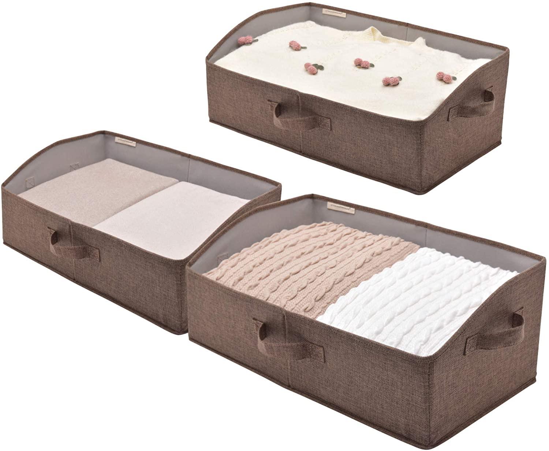 StorageWorks Closet Bins, Trapezoid Storage Box, Linen-like Closet Organizer, Golden Brown, Jumbo, 3-Pack