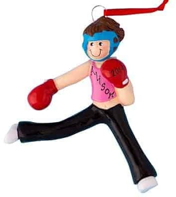 HolidayTraditions Kick Boxer Girl Personalized Ornament - Unique Christmas Tree Ornament - Special Keepsake - Custom Sports Decoration - Personalization Included