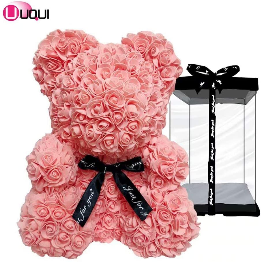 U UQUI Rose Bear Teddy Bear Artificial Rose Bear Cub, Forever Rose Everlasting Flower for Window Display, Anniversary Christmas Valentines Gift (16