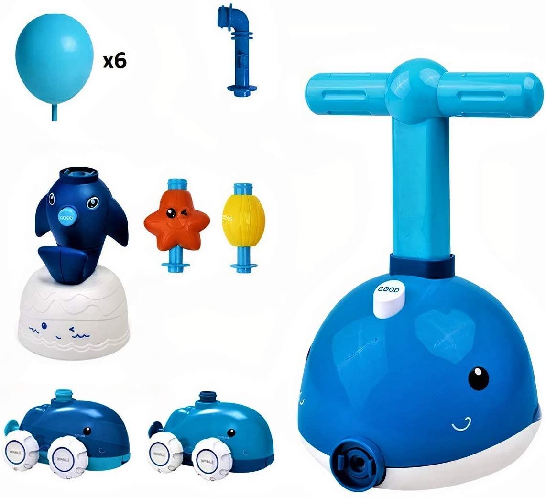 Balloon Powered Car Ocean version - Dolphin - Kids Dolphin Balloon Power Car - Starfish Balloon Powered Rocket - Fun Inertia Toys Aerodynamics Inertial Power Car Set Educational Toys Science Experiment Toy Gifts