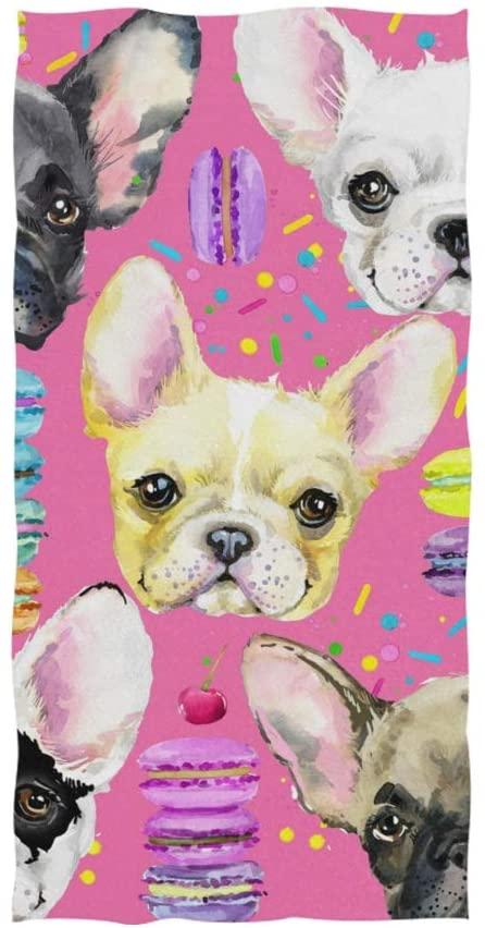 MOFEIYUE Towel Animal Dog French Bulldog Donut Highly Absorbent Hand Towel for Home Kitchen Bathroom Gym Swim Spa