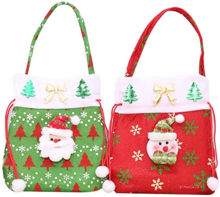 NUOBESTY 2PCS Christmas Drawstring Gift Wrap Bags Cute Santa Claus Snowman Candy Tote Bag Non-Woven Portable Storage Pouch Christmas Party Favors Supplies