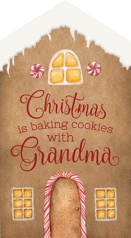 P. Graham Dunn Baking Cookies with Grandma Natural Brown 6 x 3.3 Wood Christmas Word Block Sign