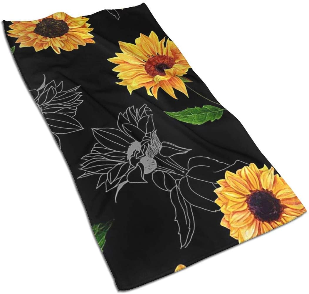 ~ Watercolor Sunflowers Black Hand Towel Ultra Soft Highly Absorbent Luxury Towels 27.5 x 15.7 Inch for Bathroom Gym Spa
