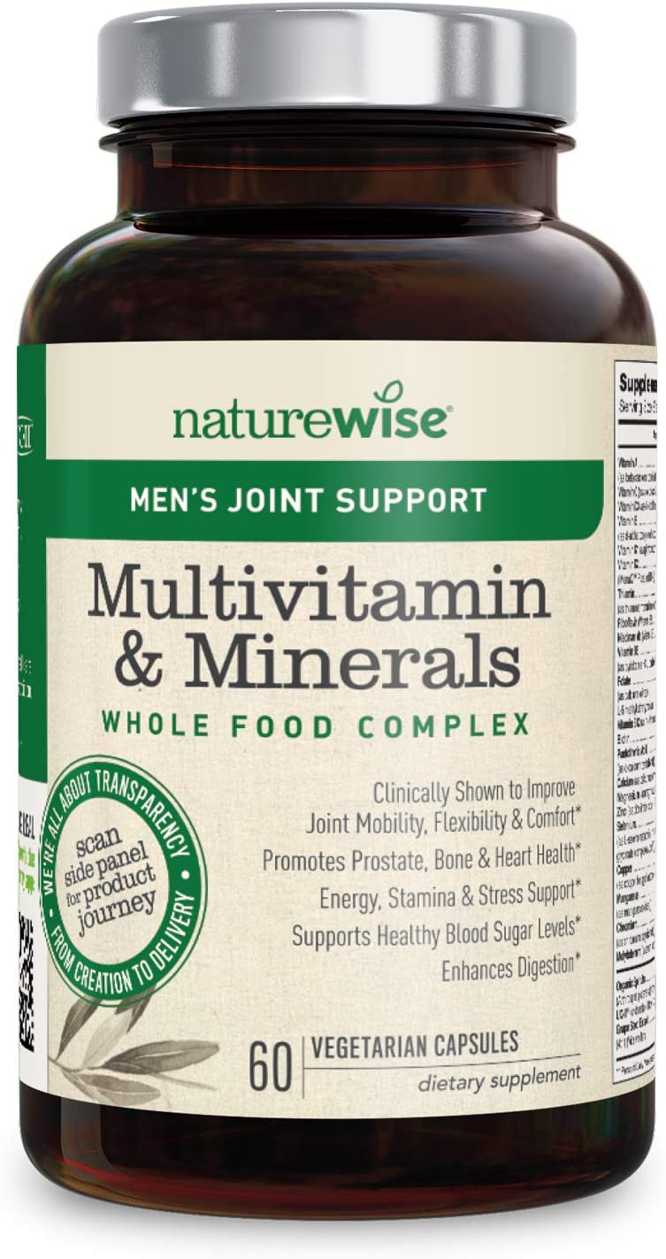 NatureWise Men's Joint Support Whole Food Multivitamin for Men's Health, Joint Mobility and Flexibility with UC-II Collagen, 22 Essential Nutrients (Packaging May Vary) [1 Month Supply – 60 Capsules]
