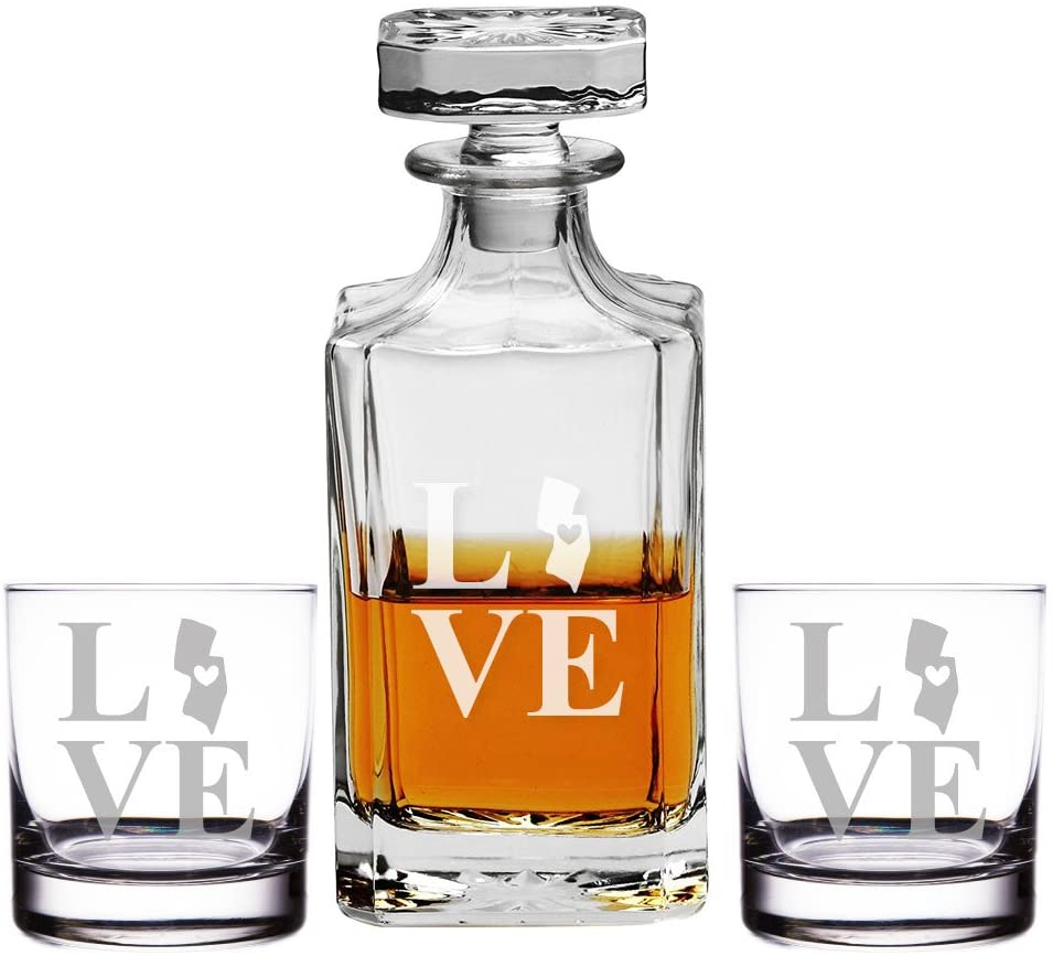 Love State New Jersey Engraved Decanter and Rocks Glasses, Set of 3