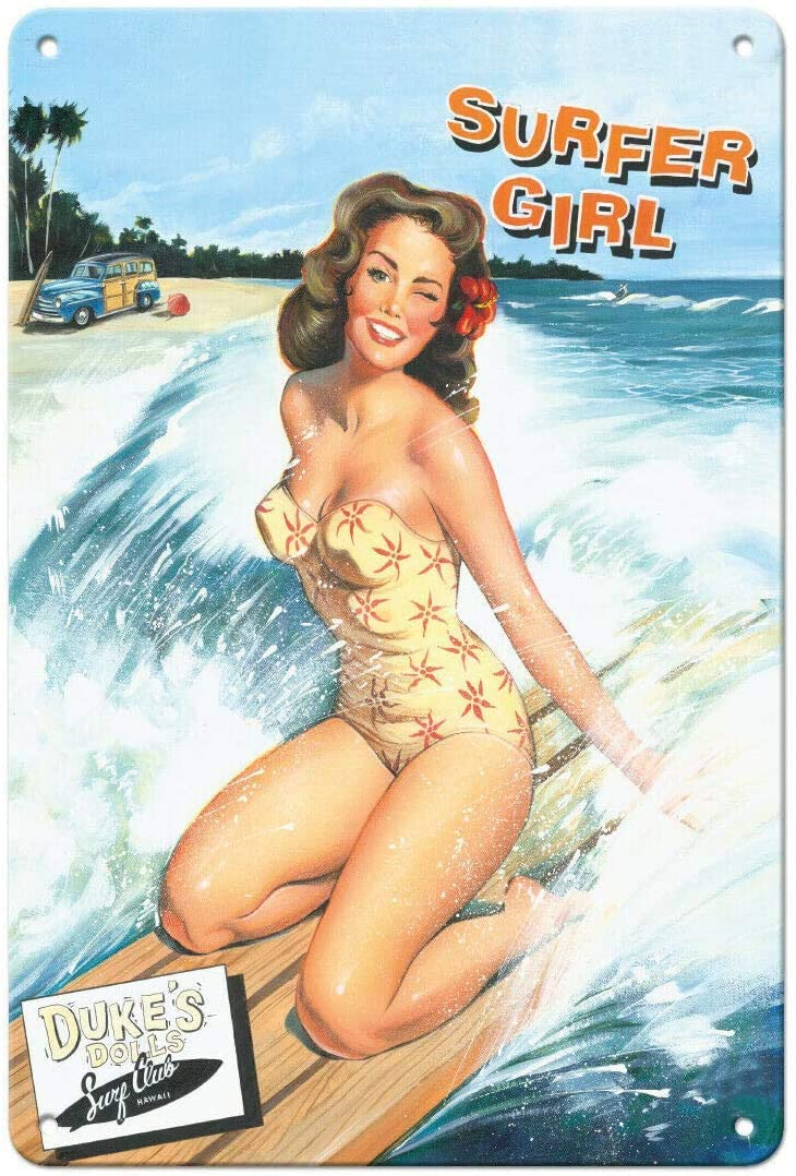Vintage Metal Tin Sign Surfer Girl - Surfing Pin-Up Girl Home Bar Kitchen Wall Decor Plaque Sign 12X8Inch