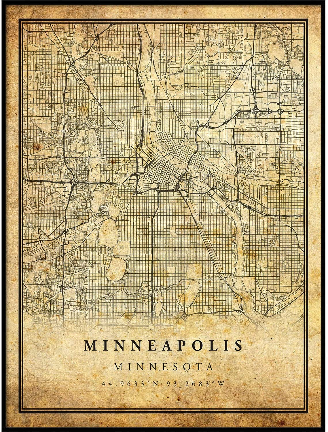Minneapolis map Vintage Style Poster Print | Old City Artwork Prints | Antique Style Home Decor | Minnesota Wall Art Gift | map Painting 11x14