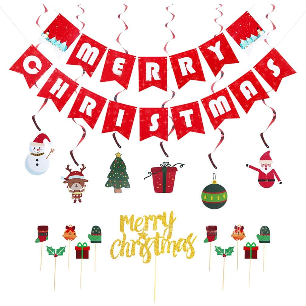 Amosfun Christmas Party Decoration Hanging Banner Ceiling Swirl Cupcake toppe Christmas Swirls Garland Wall Hanging Christmas Ornaments