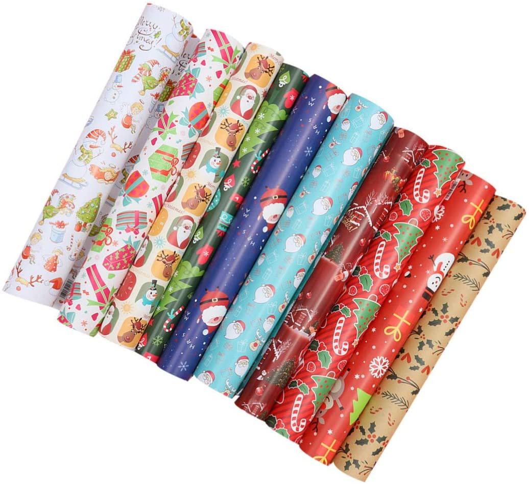 NUOBESTY 20pcs Gift Wrapping Paper Roll Christmas Decorative Wrapping Paper Sheets for Crafting Scrapbooking Christmas Decoration (Random Pattern)