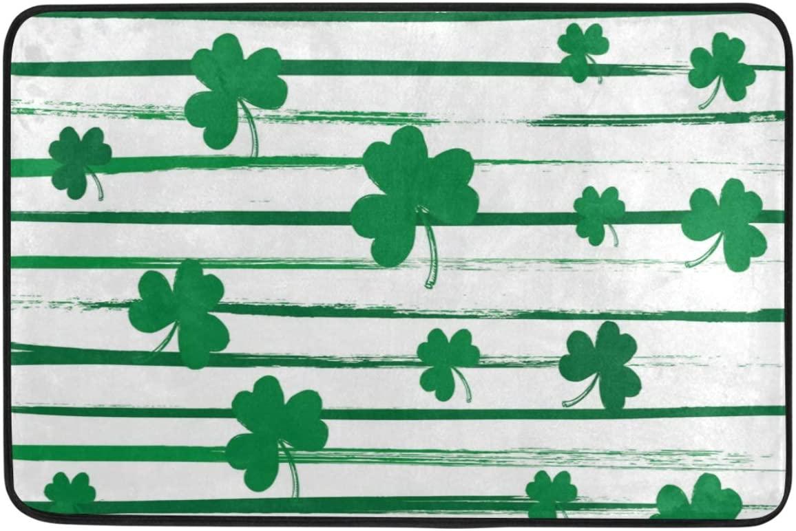 St Patricks Day Decoration Doormat Home Decor Striped Shamrock Green Clover Welcome Indoor Outdoor Entrance Bathroom Floor Mats Non Slip Washable Hoilday Pet Food Mat, 24x16 inch