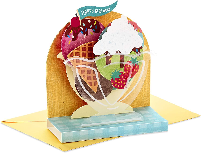 Hallmark Paper Wonder Displayable Pop Up Birthday Card (Ice Cream Sundae)