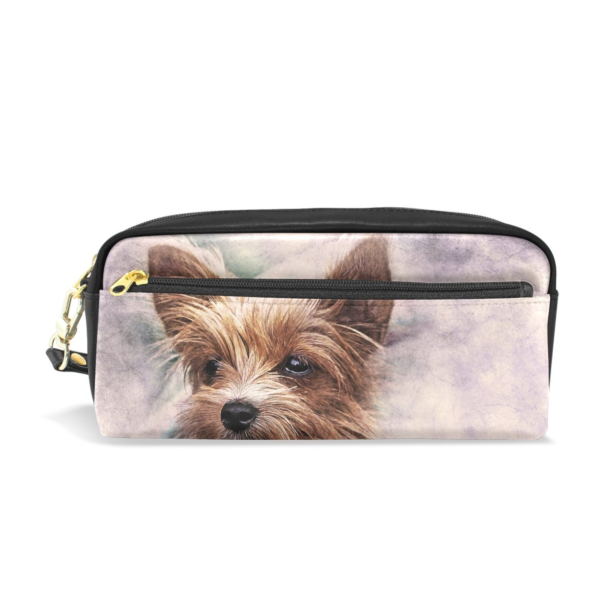 Animal Dog Leather Pen Pencil Case Bag Students Stationery Zipper Pouch School Supplies Travel Makeup Cosmetics Bag