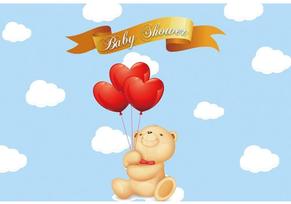 YongFoto 6x4ft Cartoon Bear Baby Shower Backdrop Infant Newborn Baby It's a Boy Prince Welcome Baby Blue Sky Balloons Photography Background Cake Table Banner Decorations Photo Booth Props