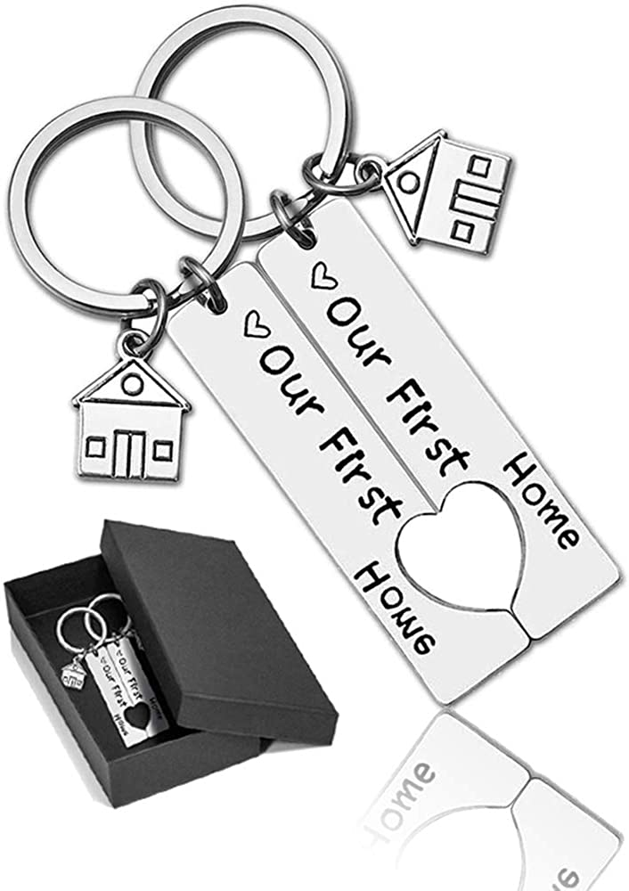 First Home Keychains Housewarming Gifts New Homeowners House Keyring Key Chain