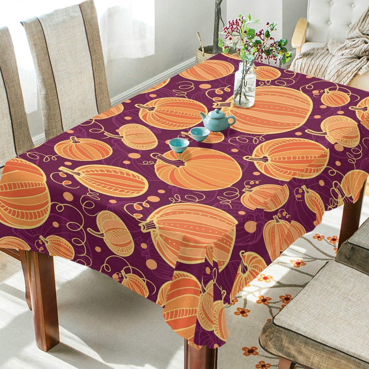 ALAZA Thanksgiving Pumpkins Table Cloth Rectangle 60 x 120 Inch Tablecloth Anti Wrinkle Table Cover for Dining Kitchen Parties