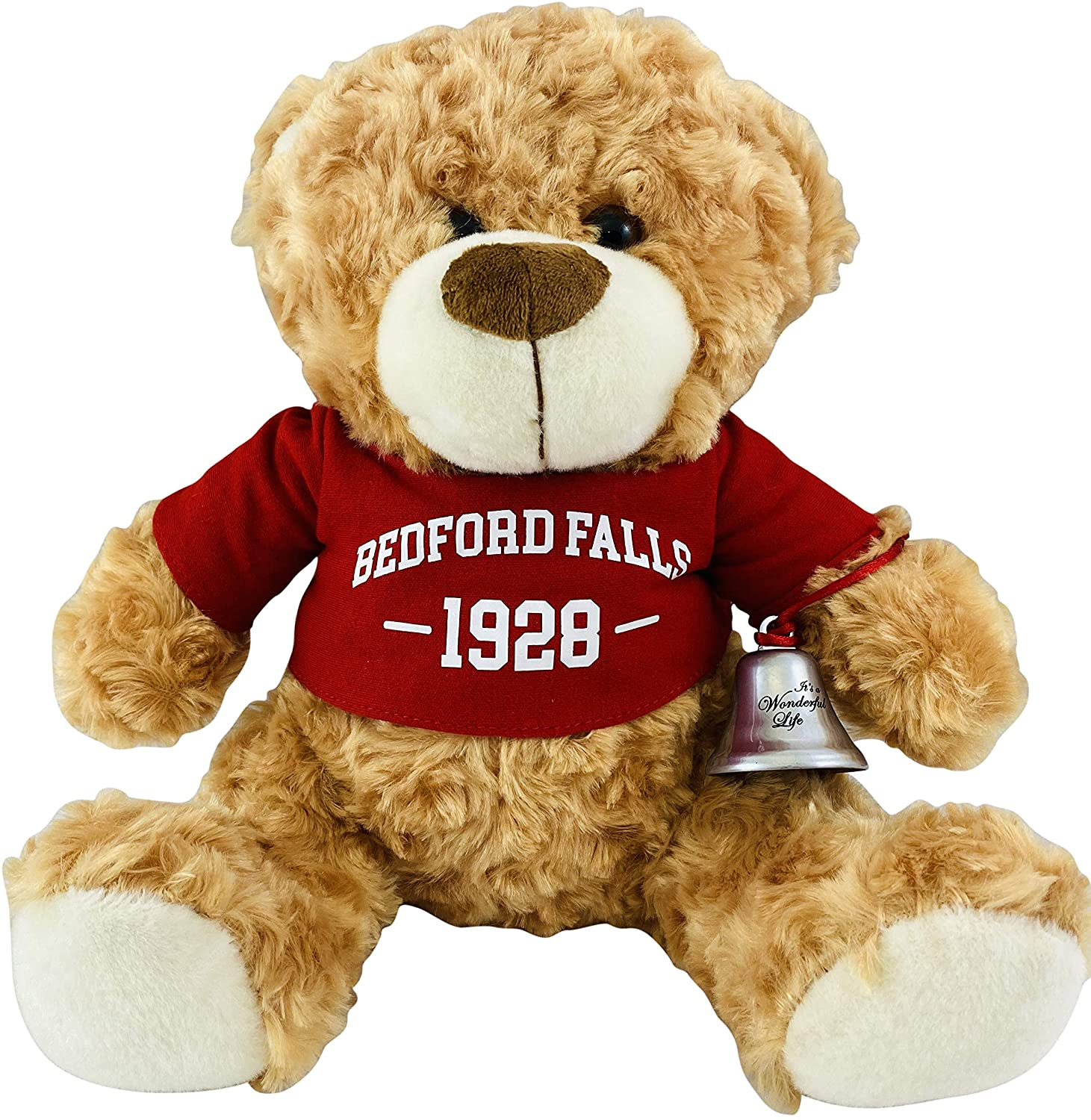 Bedford Falls Teddy Bear Plush Toy with Its a Wonderful Life Bell Christmas Ornament