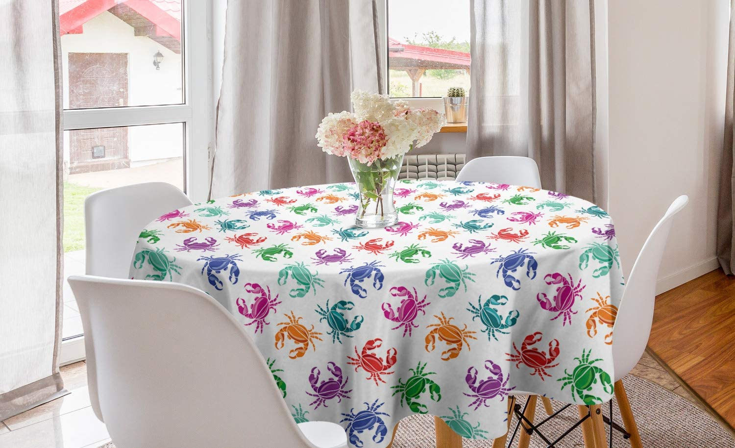 Lunarable Sea Animals Round Tablecloth, Crabs in Lively Colors Graphic Oceanic Animal Lobster Underwater Wildlife, Circle Table Cloth Cover for Dining Room Kitchen Decoration, 60