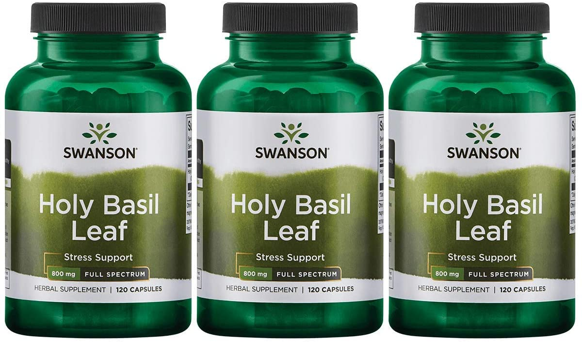 Swanson Holy Basil Leaf (Tulsi) Healthy Response to Stress Support Emotional Well-Being Supplement (Ocimum Sanctum) (800 mg per 2 Capsule Serving) 400 mg 120 Capsules (Caps) (3 Pack)