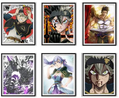 Black Clover Canvas Wall Art Set of 6 Pieces Asta Queen of Water Noelle Yami Digital Anime Artwork Poster for Playroom Decor,8 x 10 Inches,No Frame