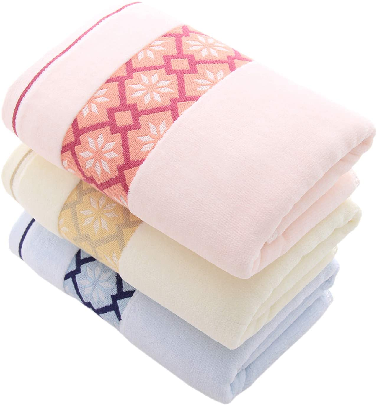 Hand Towels Set of 3 Diamond Pattern 100% Cotton Super Soft Highly Absorbent Hand Towels for Bathroom 14 x 29 Inch (3Colors)