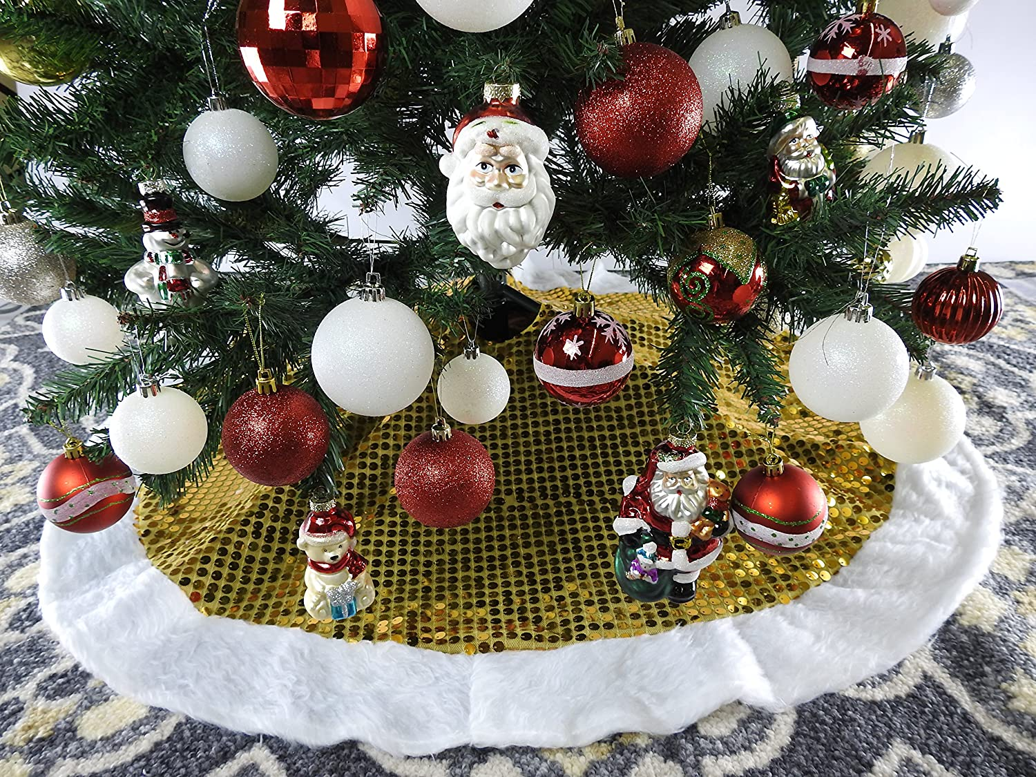 40 Yellow And Gold With White Trim Christmas Tree Skirt
