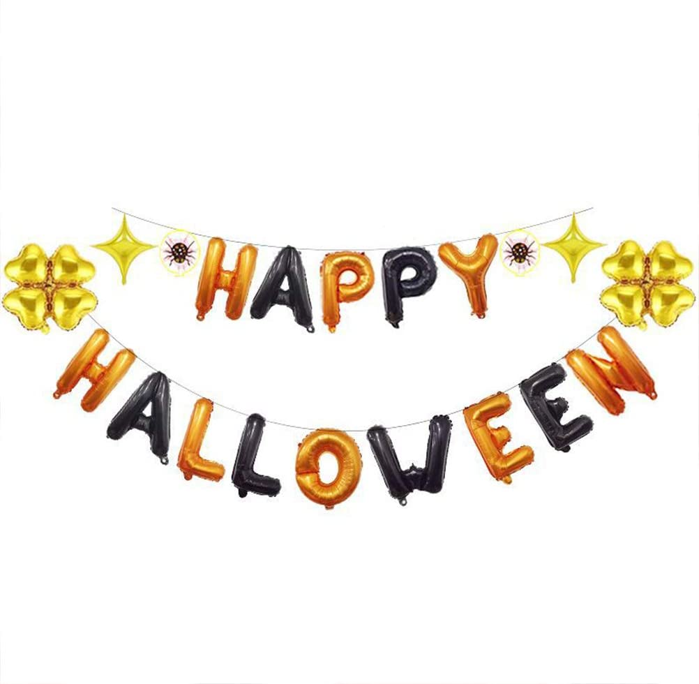 KESYOO Happy Halloween 16 Inches Balloons Set Aluminum Foil Balloons Letter Balloon Kit Party Decor Props Party Supplies(Black and Orange Set) PartyFavor