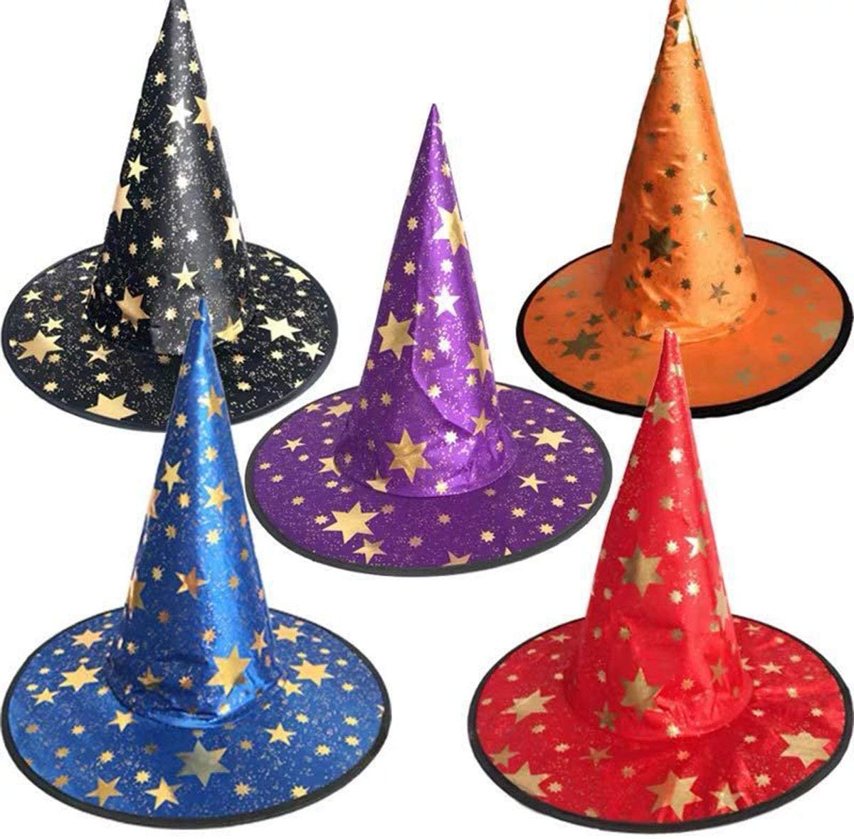Ailyther 5Pack Halloween Witch Hat, Halloween Party Wizard Hat,Halloween Party Cosplay Decoration(MZ01)