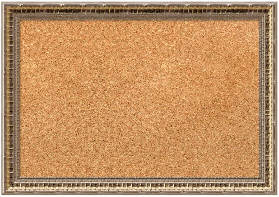 Amanti Art Framed Cork Board, Fluted Champagne Small - 21 x 15 - inch