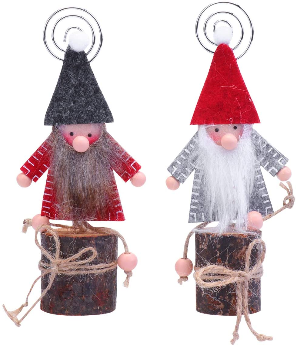 Amosfun 2pcs Christmas Wooden Table Place Card Holders Santa Gnomes Table Number Holders Memo Photo Clips Ornaments Christmas Party Favors Gifts