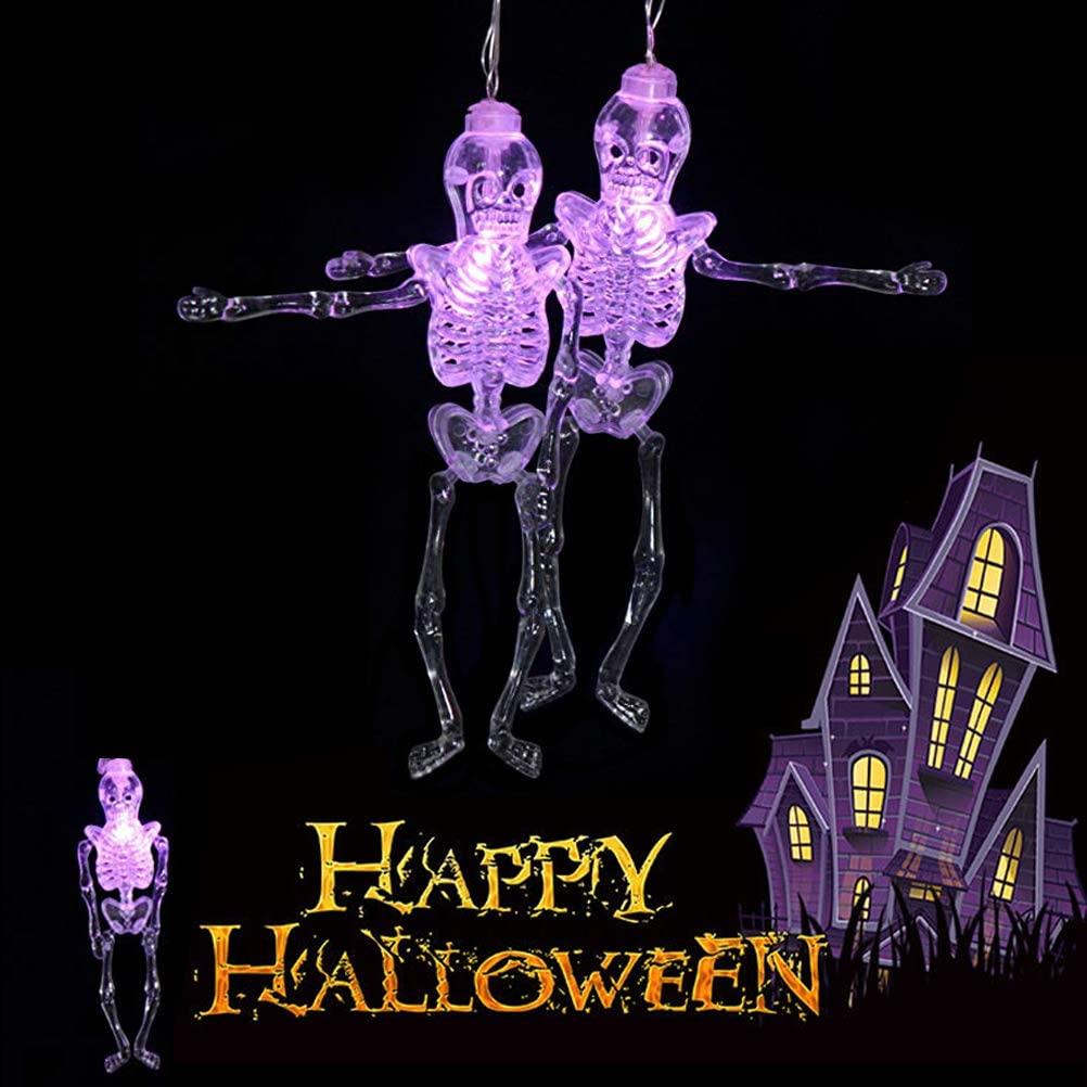 Lwind Halloween Skeleton String Lights, Battery Operated String Lights for Halloween Decorations (Purple Skeleton)