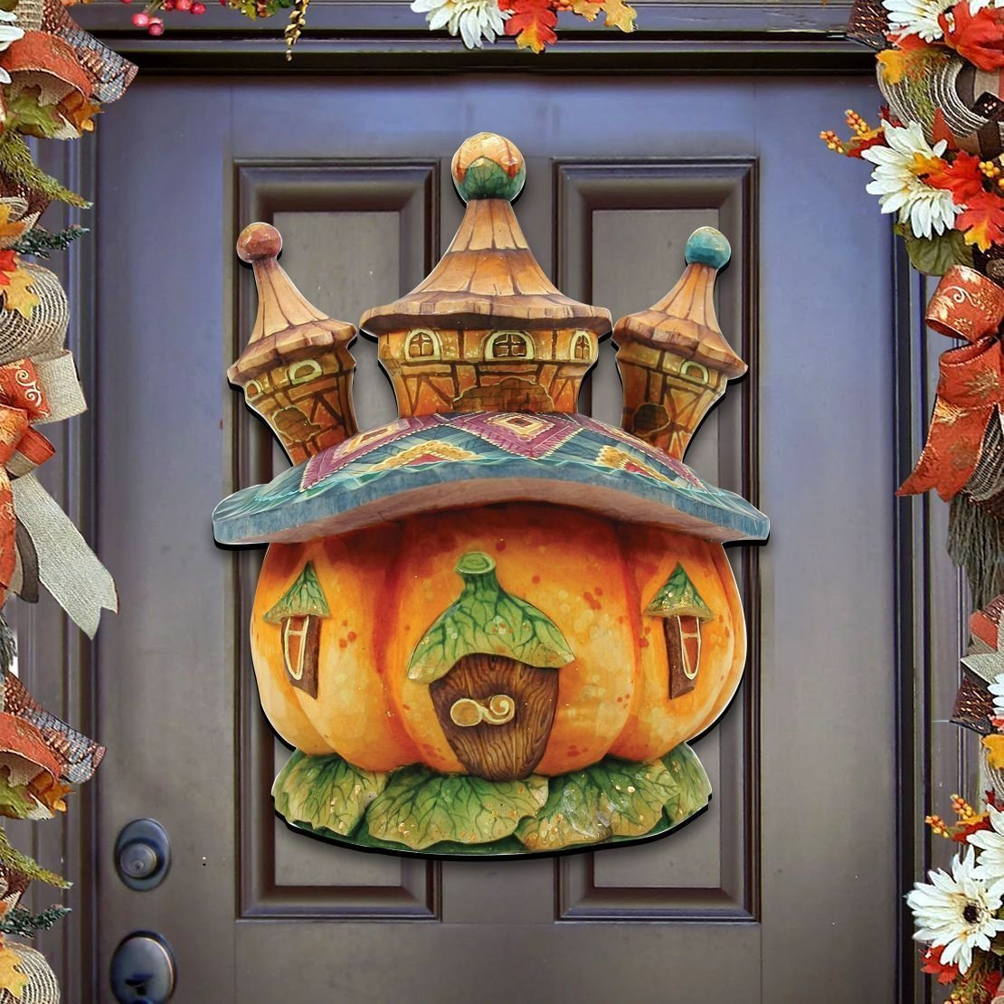 G.DeBrekht Halloween Pumpkin Castle Wooden Indoor and Outdoor Wooden Fall Halloween Hanging Door Decorations and Wall Sign, For Home, School, Office, Haunted House Decor, Party Decorations #8158413H