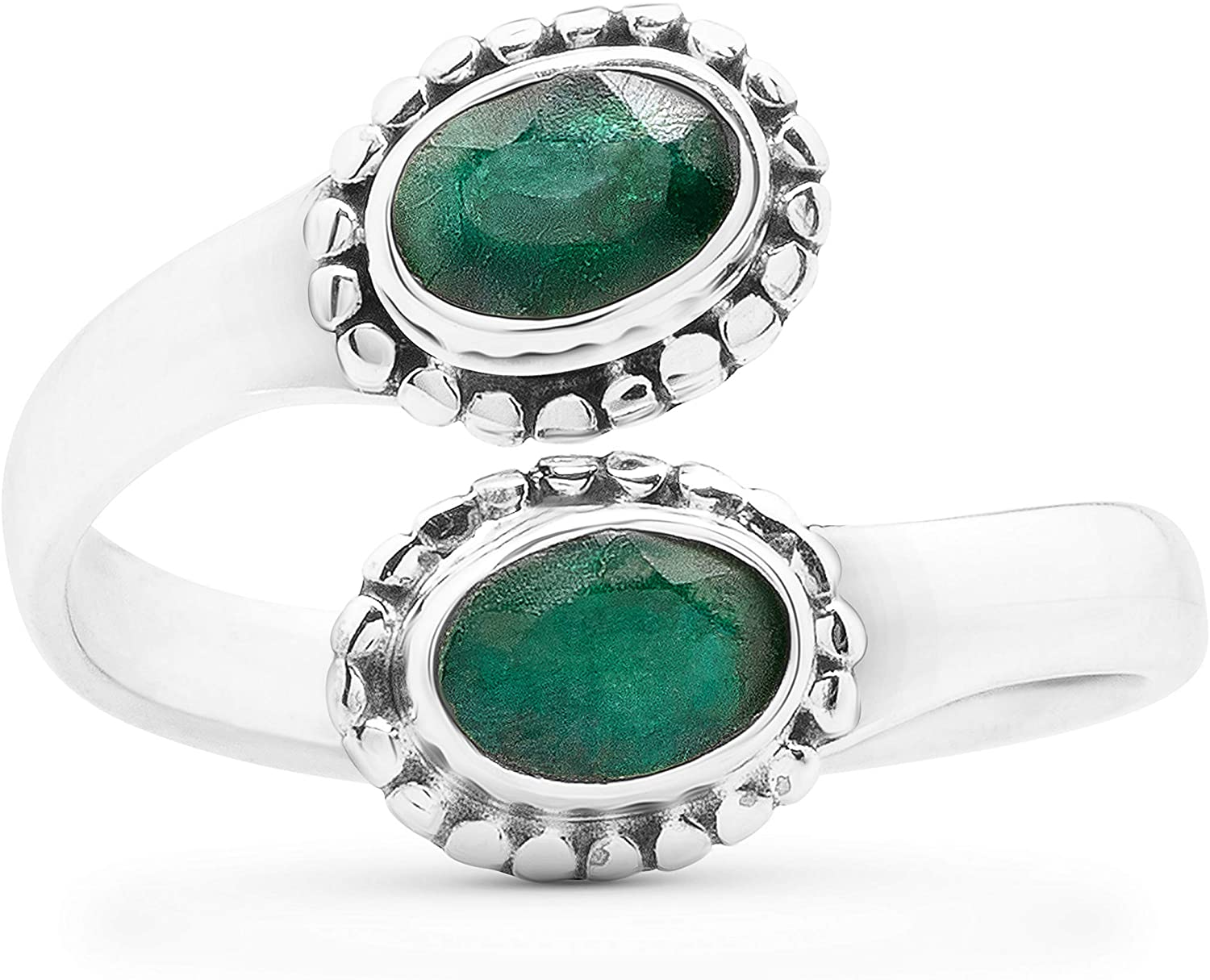 Koral Jewelry Adjustable Created Emerald Oval Two Stones Ring 925 Sterling Silver Ethnic Vintage Tribal Gipsy Boho Chic