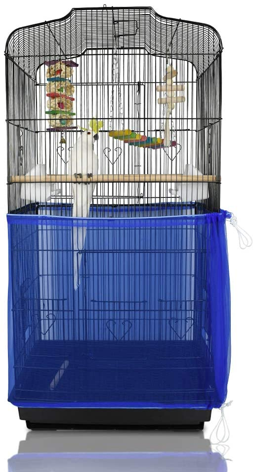 ASOCEA Extra Large Bird Cage Seed Catcher Seeds Guard Skirt Birdcage Nylon Mesh Netting Parrot Parakeet Round Square Cage - Blue (Not Include Birdcage)