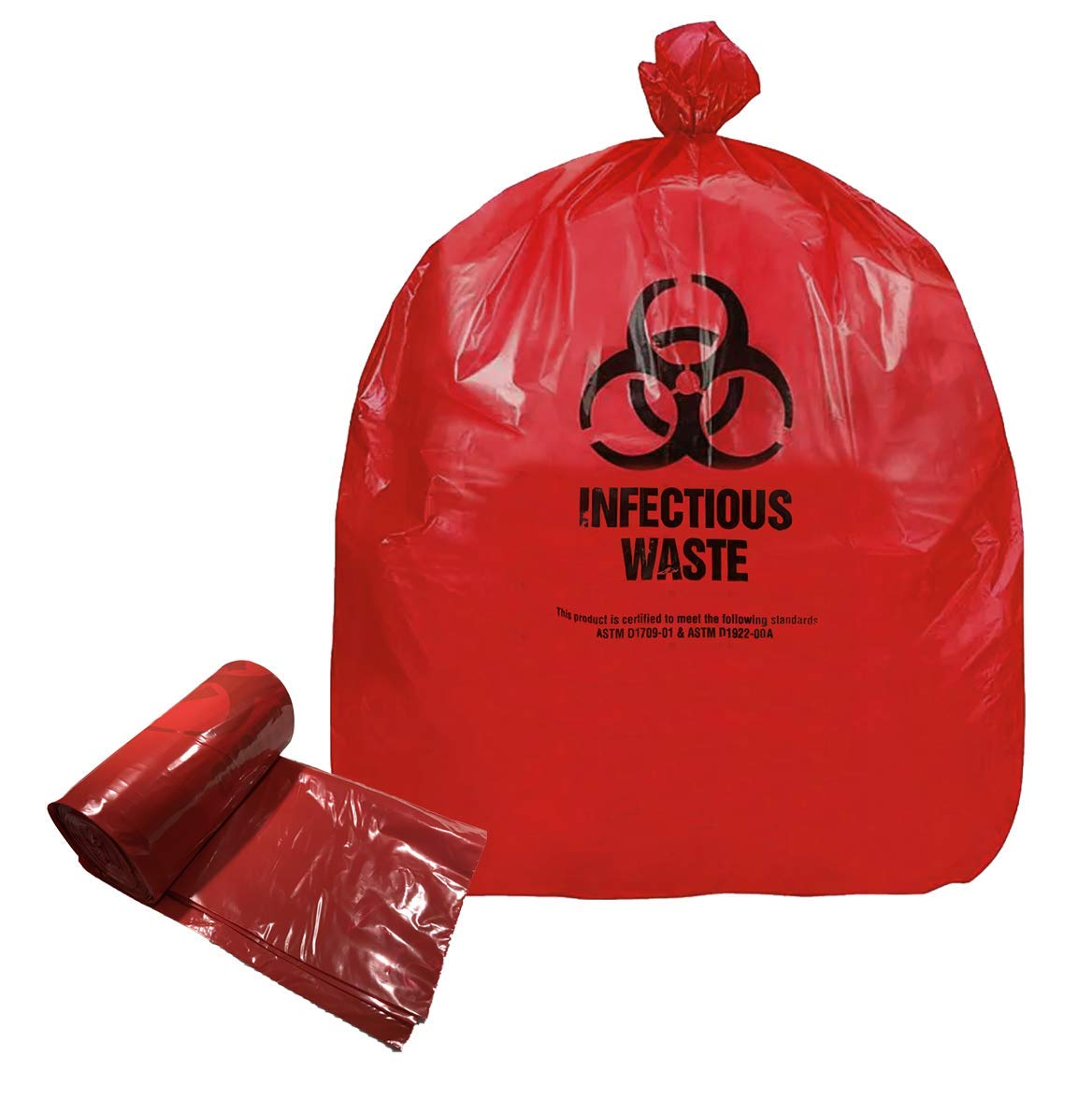Resilia Medical - Biohazard Bags - Hazardous Waste Disposal, Meets DOT ASTM Standards for Hospital Use, Red, 25 Gallon, 30x36 Inches, 100 Bags