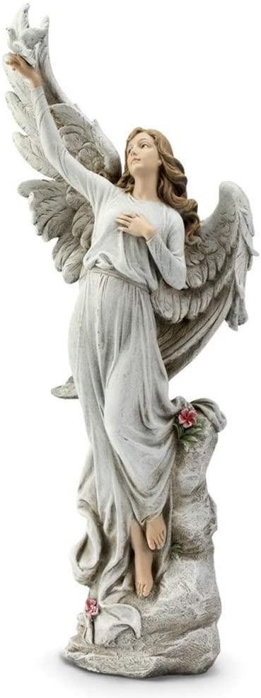 Napco Angel Holding Dove Classic White 20 inch Resin Stone Collectible Figurine