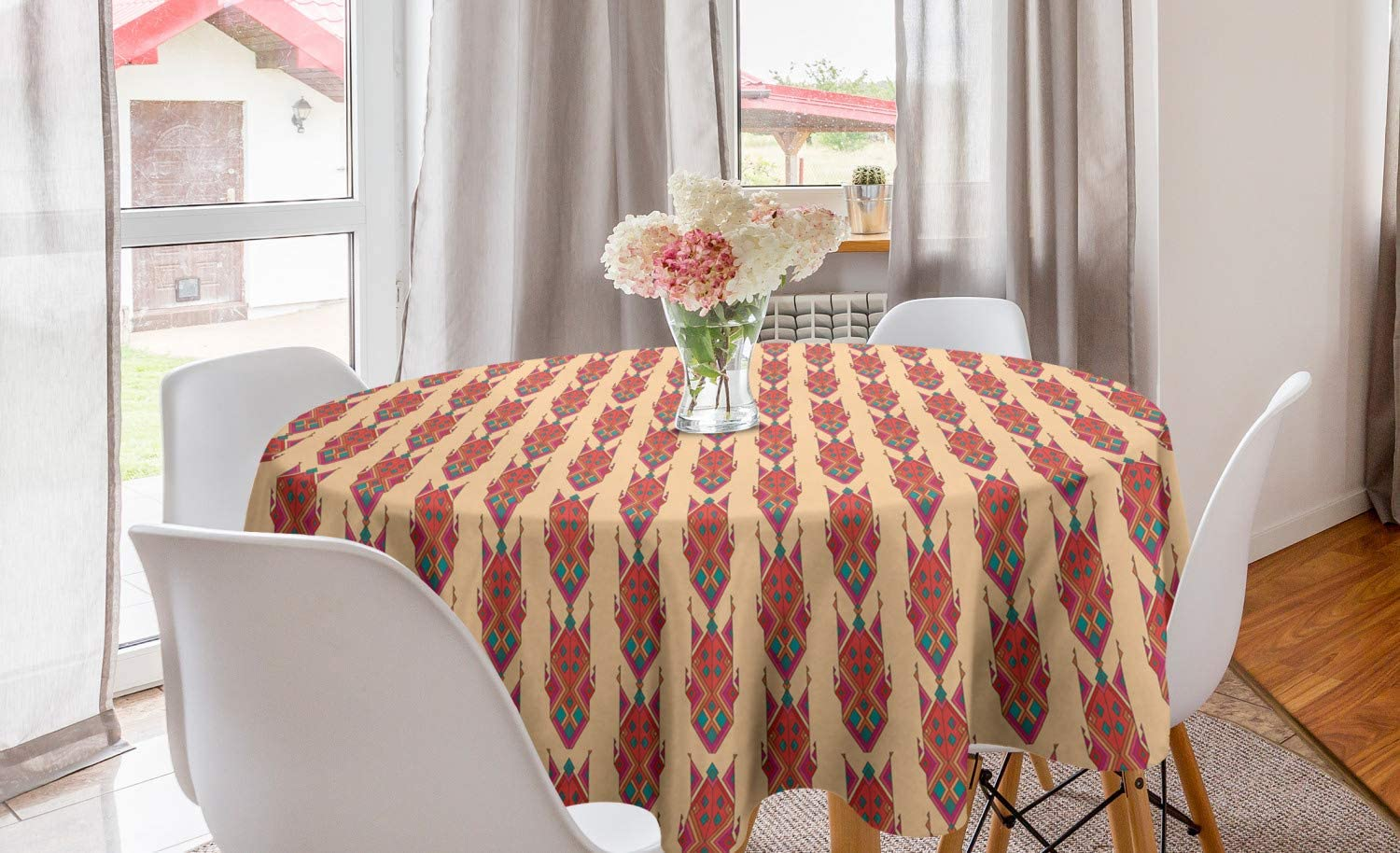 Lunarable Ethnic Round Tablecloth, Mexican Culture Pattern Mayan Inspired Rhombus and Arrow Design, Circle Table Cloth Cover for Dining Room Kitchen Decoration, 60