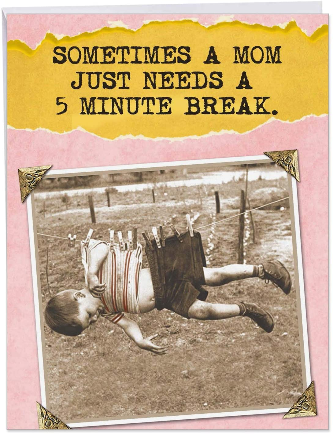 Hilarious 5 Minute Break - Happy Mother's Day Card with Envelope (Big 8.5 x 11 Inch) - Retro and Vintage Greeting Notecard from Kids, Children - Big, Playful Stationery Card for Mothers J0211