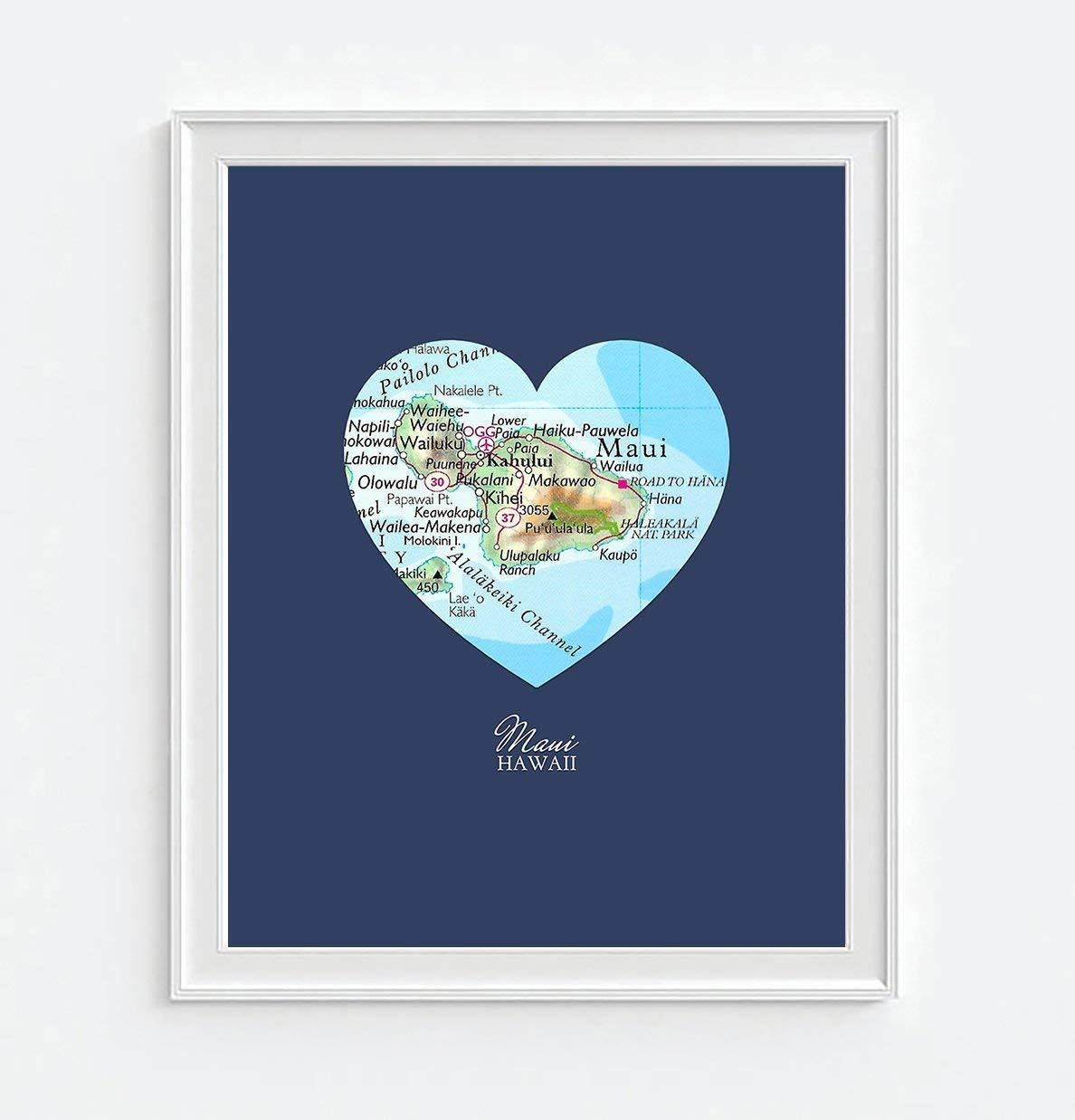 Maui Hawaii Vintage Heart Map Art Print, Unframed, Customized Colors, Wedding Engagement Anniversary Housewarming Gift, All Sizes