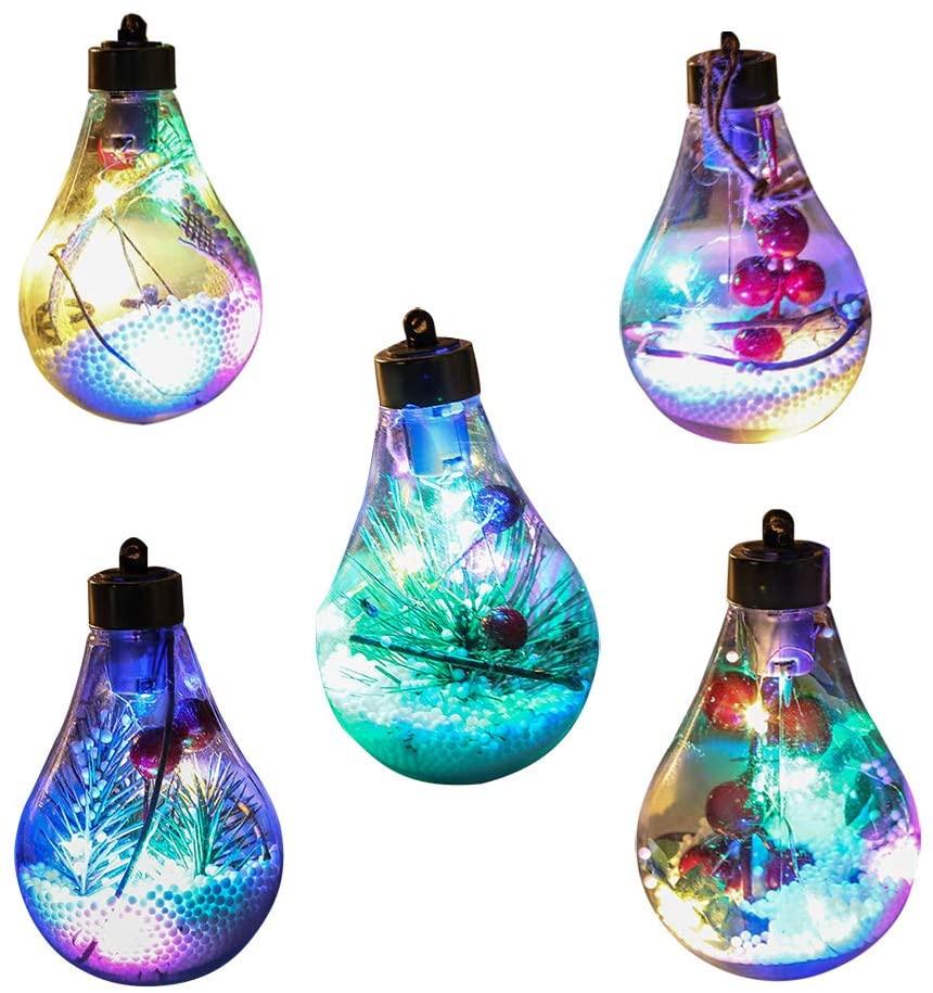 TopHGC Christmas Tree Light, 5PCS Bulb Shape Transparent Christmas Ball Light, LED Christmas Tree Pendant Christmas Decoration, Christmas Tree Hanging Light with Handle