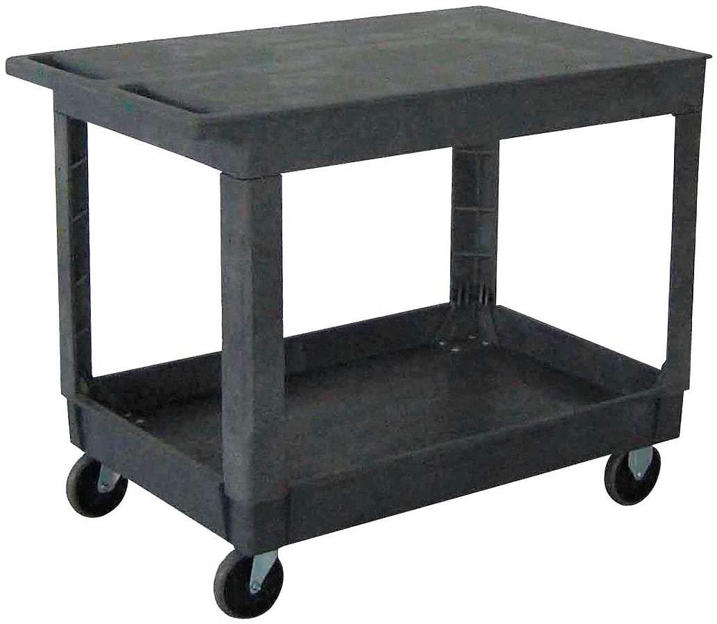 Polypropylene Flat Handle Utility Cart, 500 lb. Load Capacity, Number of Shelves: 2