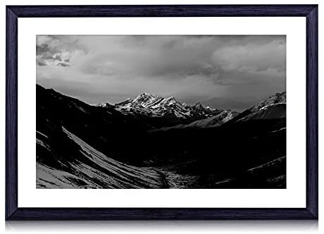 orange sky mountain-Mountain scenery - Art Print Black Wood Framed Wall Art Picture Black and White (16x12 inches Framed)