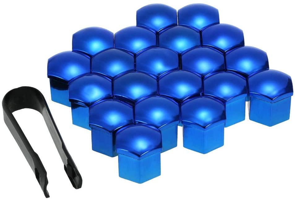 KKmoon Wheel Nut Covers 21mm, Blue 20pcs Universal Lug Nut Caps Screw Protector