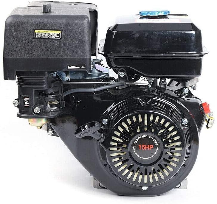 Gas Engine Motor 15HP 420CC 4 Stroke OHV Single Cylinder Horizontal Gasoline Petrol Engine Go Kart Motor Manual Recoil Starter 9KW 3600RPM 190F Air Cooling Garden Tiller Cultivator Motor (Black)