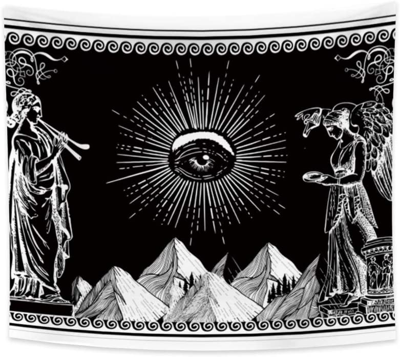 Renaiss All Seeing Eye Mystic Tapestry Trippy Third-Eye Mountain Mythology Statue Indian Religion Art Wall Hanging for Bedroom Dorm Home Decor 33.9x27.6 Inches