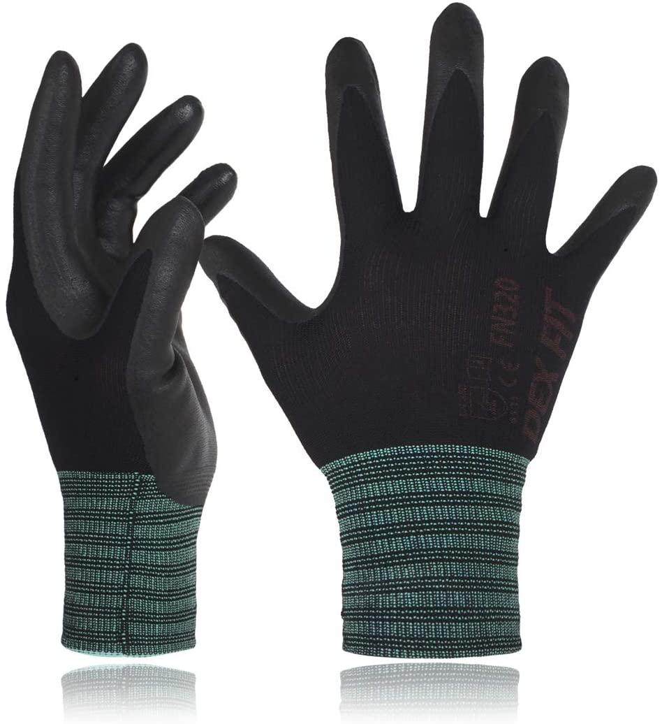 DEX FIT Gardening Gloves FN320, 3D Comfort Stretch Fit, Power Grip, Durable Foam Nitrile, Thin & Lightweight Premium Nylon, Machine Washable, Black X-Large 3 Pairs
