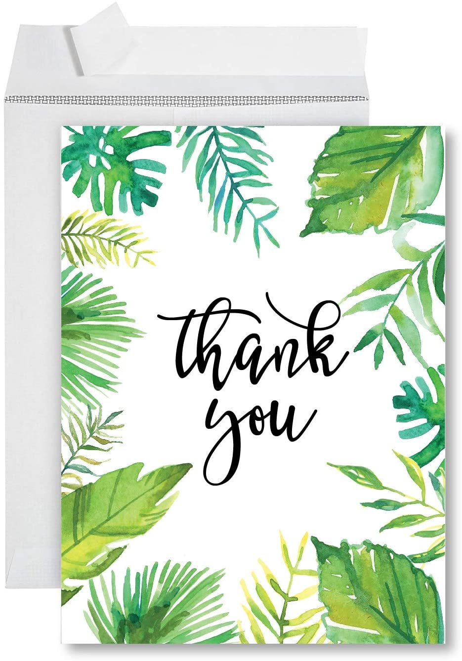 Andaz Press Funny Big Jumbo Thank You Card With Envelope 8.5 x 11 inch, Greeting Card, Thank You Tropical Watercolor, 1-Pack, Huge Large Group Greeting Card, Includes Envelope
