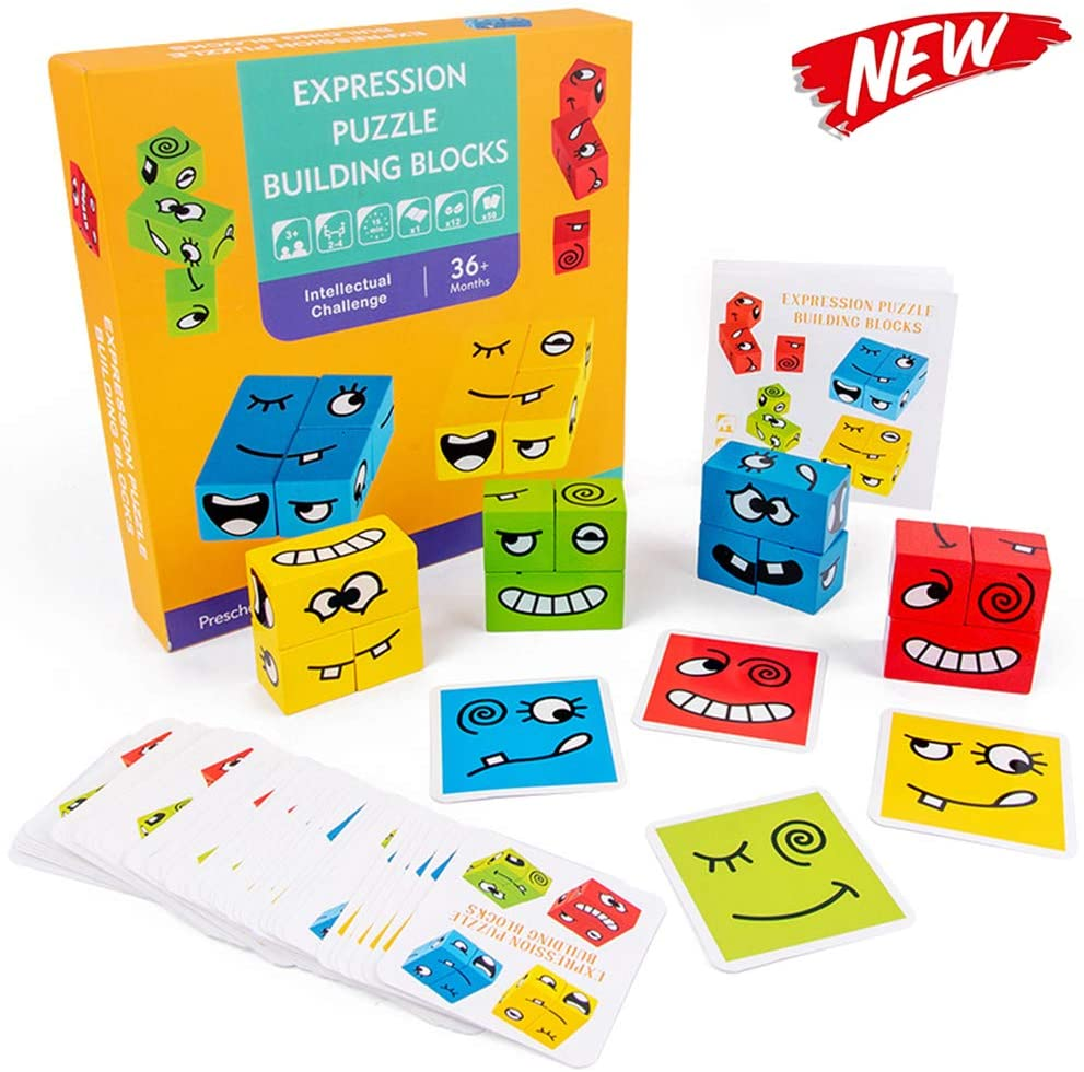 Face-Changing Cube Building Blocks for Children,Funny Expression Puzzle Colorful for Kids, Logical Thinking Intellectual Training,Wooden Blocks Board Game Puzzle Toys 2020 New